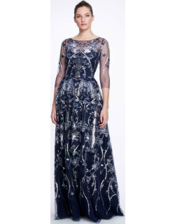 Marchesa Notte ¾ Sleeve Boat Neck Sequin Embroidered Gown