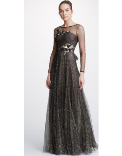 Marchesa Notte Long Sleeve Glitter Tulle Evening Gown