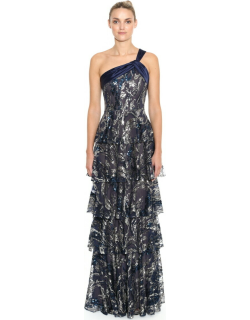 Marchesa Notte One Shoulder Beaded Sequin Gown