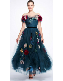 Marchesa Off-the-Shoulder Tulle Midi Dress
