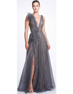 Marchesa Tulle A-Line Slit Gown
