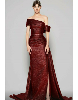 MNM Couture Off Shoulder Draped Slit Gown