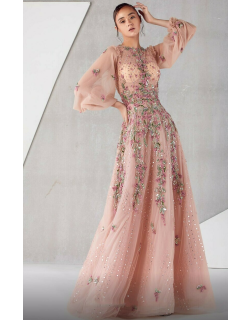 MNM Couture ¾ Blouson Sleeve Embellished A-Line Gown