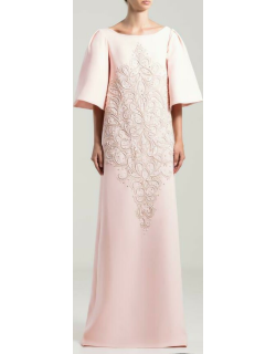 Saiid Kobeisy Boat Neck Straight Cut Crepe Long Gown
