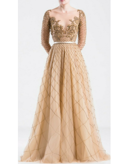 Saiid Kobeisy Long Tulle Embroidered Gown