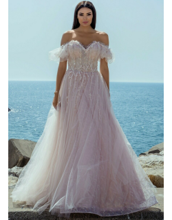 Ziad Germanos Off Shoulder Tulle and Lace Gown