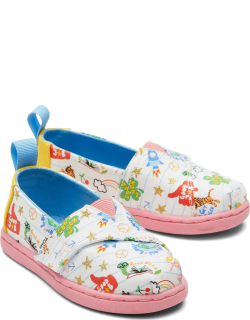 TOMS White Doodles Tiny Alpargatas Notebook Doodles Slip-On Espadrille White Hook and Loop Shoes
