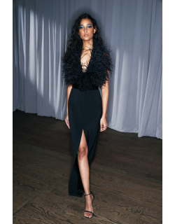 LBV by Elizabeth Kennedy Ostrich Feathered and Sequin Halter Gown