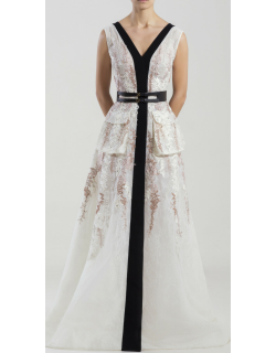 Saiid Kobeisy Sleeveless Lace Embroidered Gown