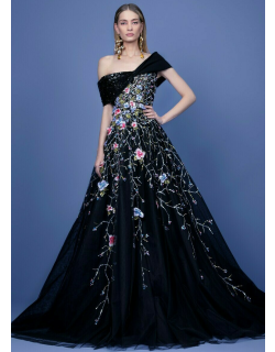 Georges Hobeika Beaded Off Shoulder Tulle Gown