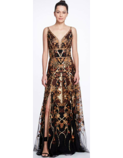 Marchesa Notte V-Neck Sequin Embroidered Tulle Gown