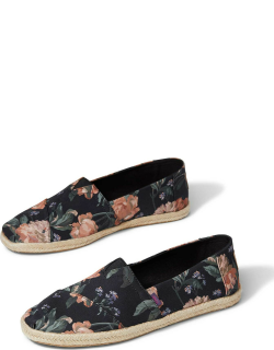 TOMS Black Bloom Espadrille Alpargatas Made With Liberty Fabric Shoes