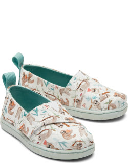 TOMS White Tiny Alpargatas Sloth Slip-On Espadrille Hook and Loop Shoes