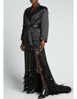 Feather-Trim Sequined Maxi Skirt