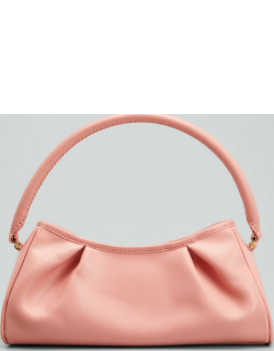 Dimple Smooth Leather Pleated Shoulder Bag