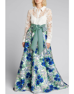 Lace-Shirt with Floral Skirt A-Line Gown