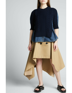 Double-Breasted High-Low Trench Skirt