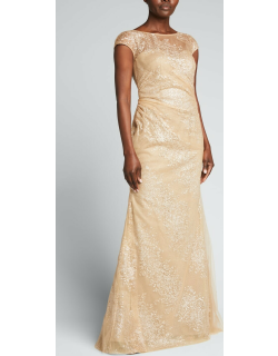 Sequin Pattern Cap-Sleeve Illusion Gown