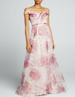 Off-the-Shoulder Floral Organza Gown