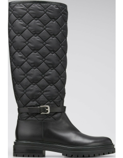 Leather & Quilted Nylon Riding Boots