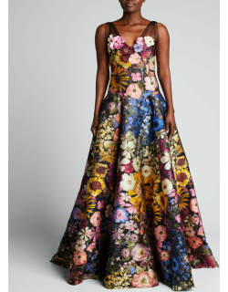 Floral-Embroidered Fil Coupe Gown