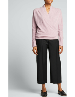 Wrap-Front Cashmere Pullover