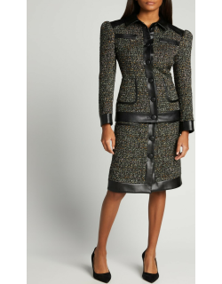 Roro Tweed Faux Leather Skirt