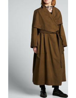 Draped Cotton-Blend Belted Trench Coat