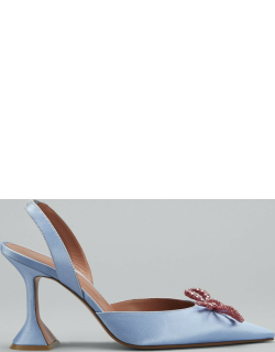 Rosie Pointed Crystal Bow Slingback Pumps