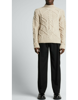 Men's Tibeau Cable Wool Mock-Neck Sweater