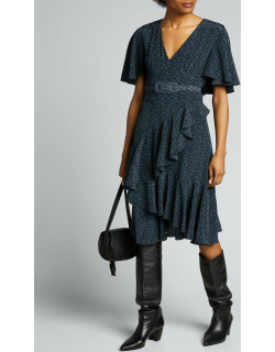 Floral-Print Silk Caped Belted Dress