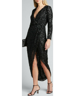 Hand Embellished Long-Sleeve High-Low Wrapped Gown