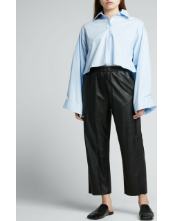 Cropped Vegan-Leather Pull-On Pants