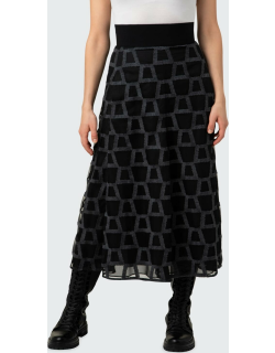Long Full Wool Skirt with Mirrored Trapezoid Embroidery
