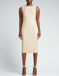 Sequin Hand Embellished Midi Gown w/ Clawstone Detail