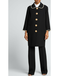 Pearl-Trimmed Long Coat w/ Jewel Buttons
