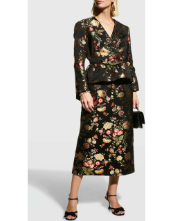 Theia Floral Brocade Skirt w/ Ruffle Back