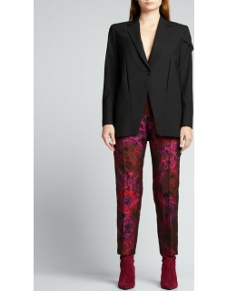 Rose-Print Cropped Trousers