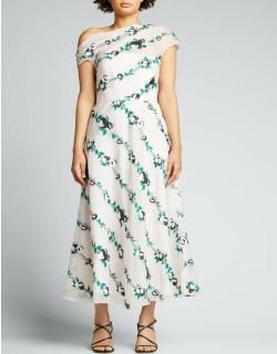Off-the-Shoulder Embroidered Midi Dress