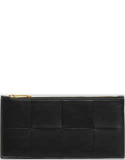 Woven Leather Zip Card Case