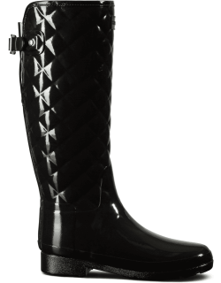 Women's Refined Slim Fit Adjustable Quilted Tall Rain Boots