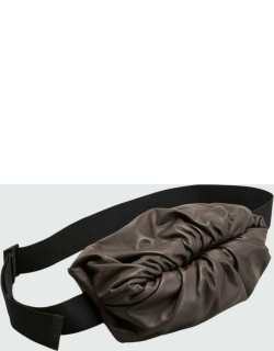 Men's Ruched Leather Pouch Bag