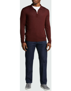 Men's Long-Sleeve Solid Wool Polo Shirt
