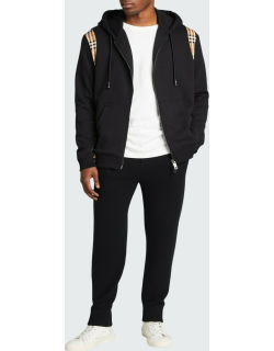 Men's Zip Hoodie with Check Sides