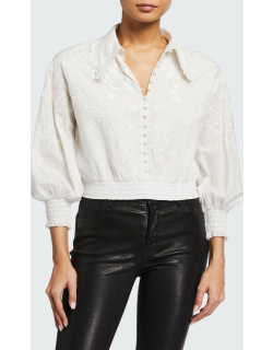 Onella Embroidered Button-Down Blouse