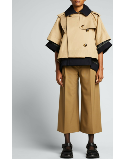 Mixed-Media Cropped Trench Cape Jacket