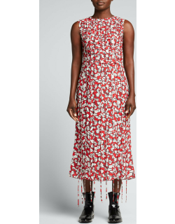 Abstract Floral-Print Sleeveless Dress