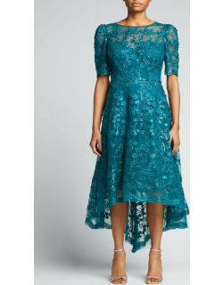 3D Embellished Lace High-Low Tulle Dress