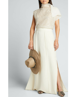 Linen Twill Maxi Skirt with Side Slits