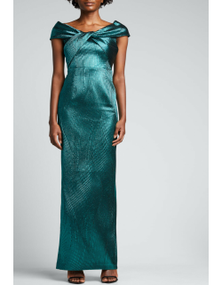 Metallic Ribbed Jacquard Off-Shoulder Gown